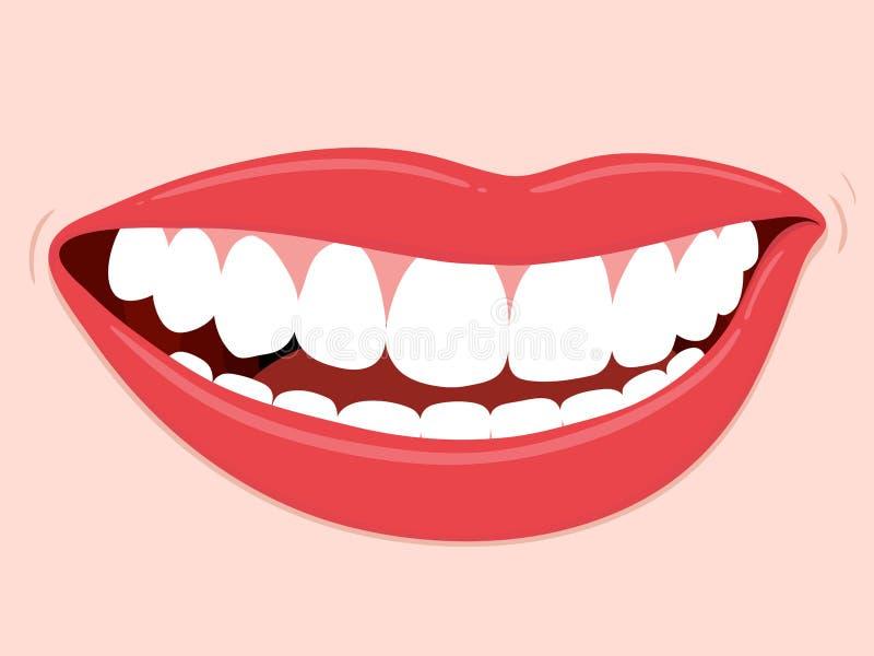 Dentes saudáveis de sorriso da boca ilustração do vetor