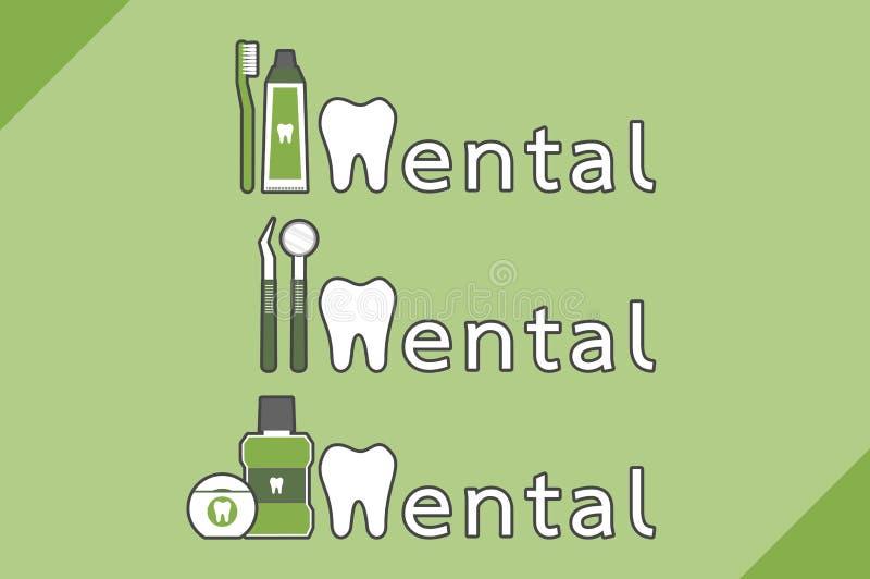 Dentes saudáveis e amigo combinados como a palavra dental ilustração do vetor