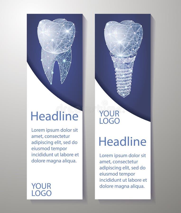Dentes saudáveis e implante dental Projeto das bandeiras Pode usar-se para o mercado ilustração royalty free