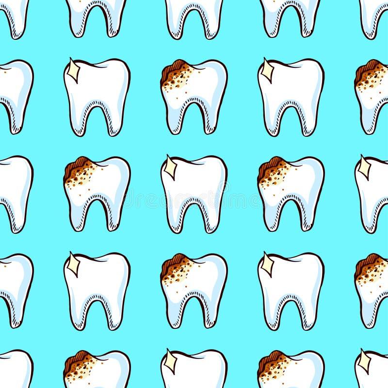 Dentes saudáveis e maus ilustração do vetor