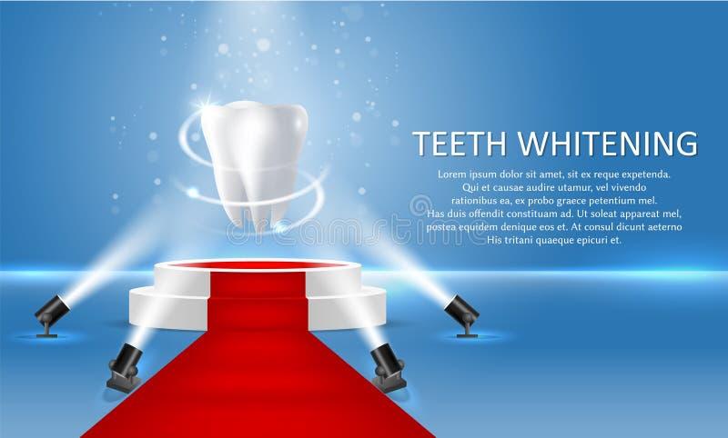 Denti che imbiancano il manifesto di vettore o il modello dell'insegna illustrazione di stock