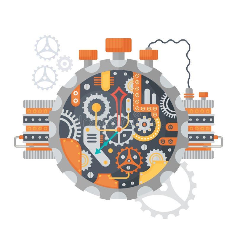 Denti d'annata di Steampunk e fronte di orologio degli orologi isolati su bianco Illustrazione di vettore royalty illustrazione gratis