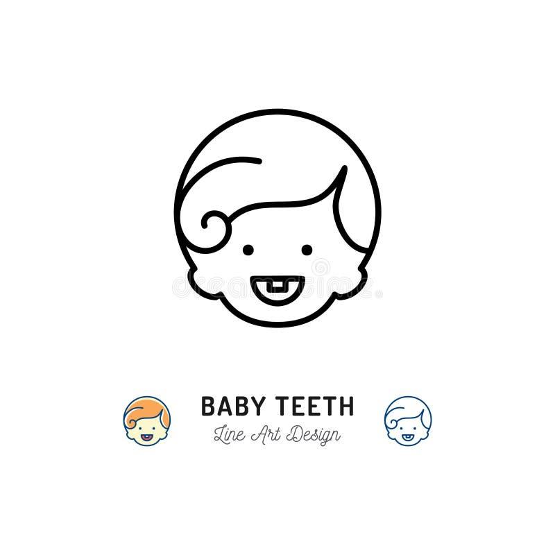 Denti da latte icona, ragazzini con il primo dente, sorridere del bambino Linea sottile icona di cure odontoiatriche del ` s dei  illustrazione di stock