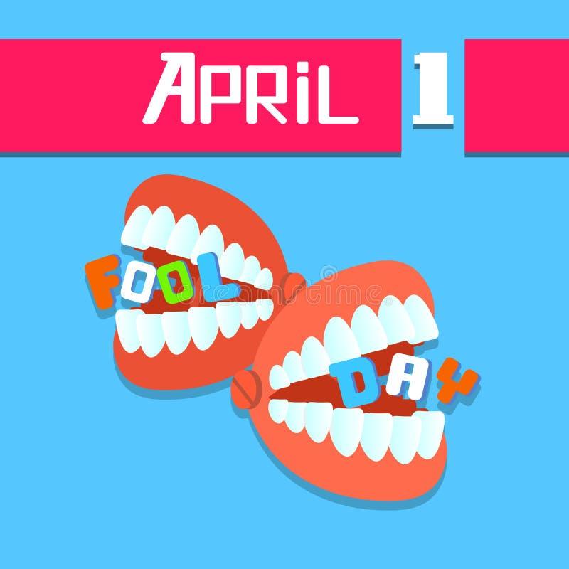 Denti della mandibola, giorno April Holiday Greeting Card dello sciocco royalty illustrazione gratis
