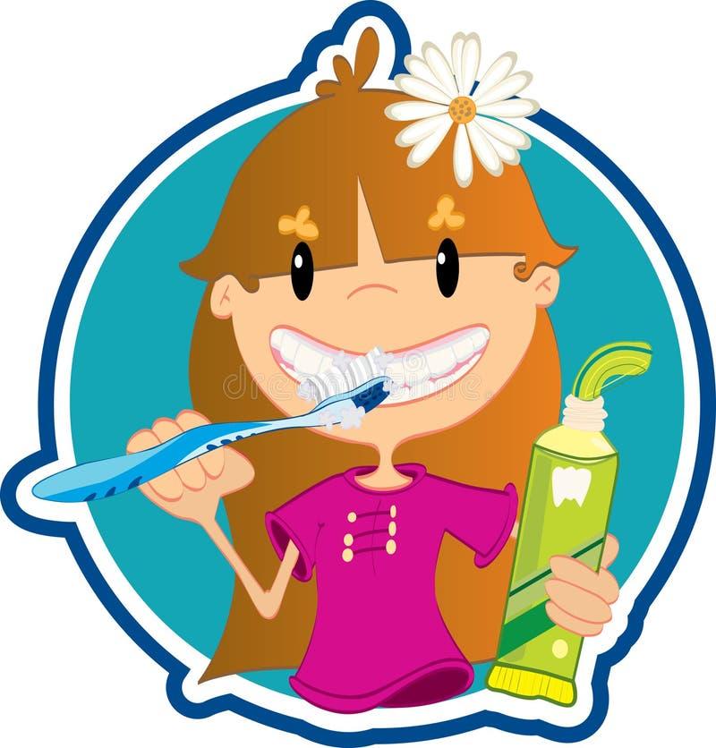 Denti di lavaggio della bambina royalty illustrazione gratis