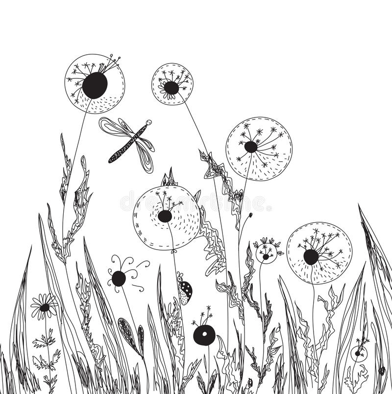 Denti di leone e scheda della natura dell'erba illustrazione di stock