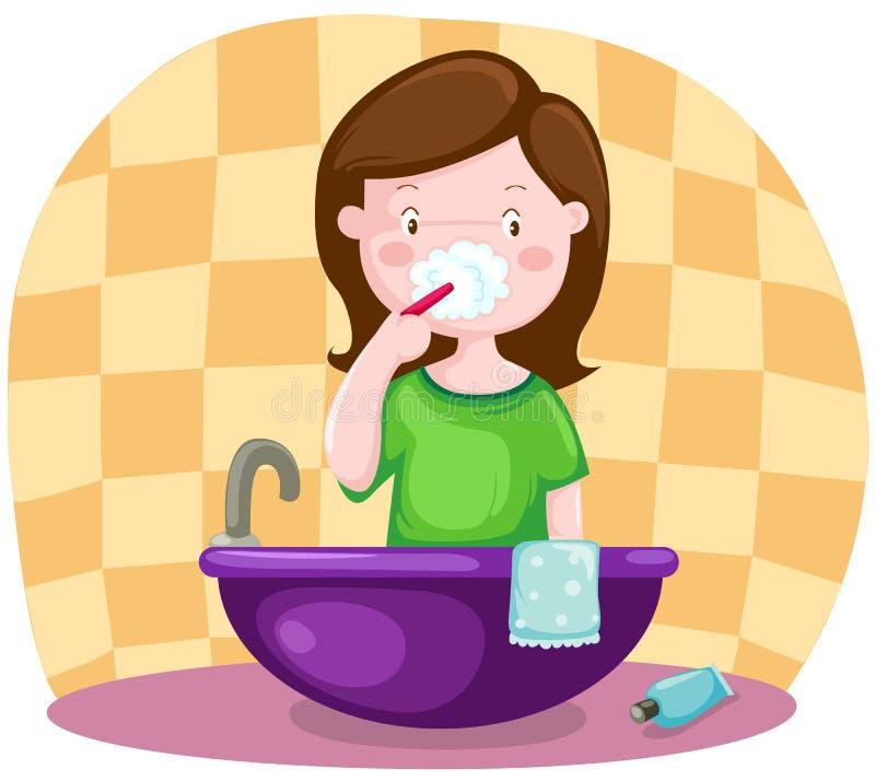Denti di spazzolatura della ragazza illustrazione vettoriale