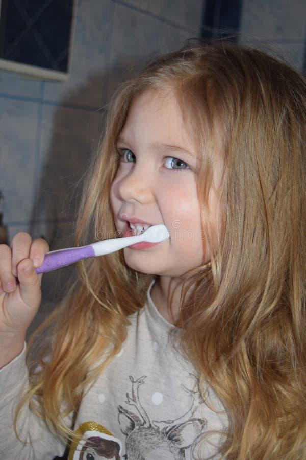 Denti di spazzolatura della ragazza prima dell'asilo Prima colazione per una persona fotografia stock libera da diritti