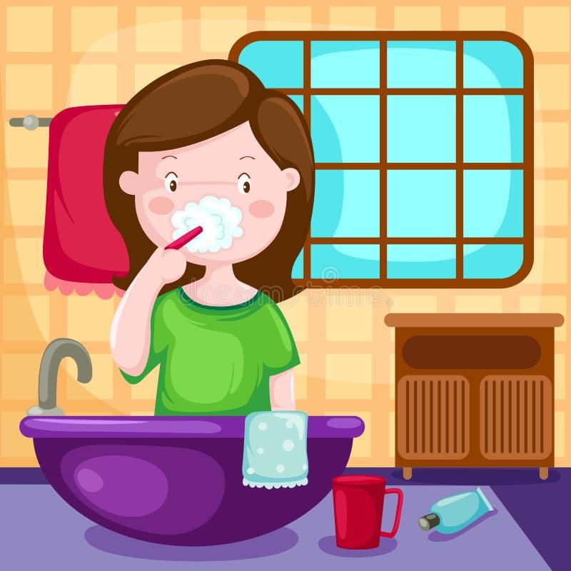 Denti di spazzolatura della ragazza in stanza da bagno royalty illustrazione gratis
