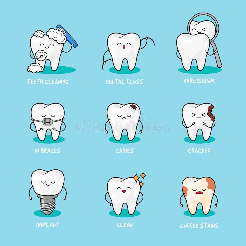 Denti felici messi Caratteri svegli del dente Illustrazione dentaria di vettore del personaggio illustrazione di stock