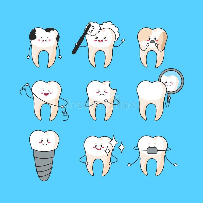 Denti felici messi Caratteri svegli del dente Illustrazione dentaria di vettore del personaggio Concetto dentario per la vostra p illustrazione vettoriale