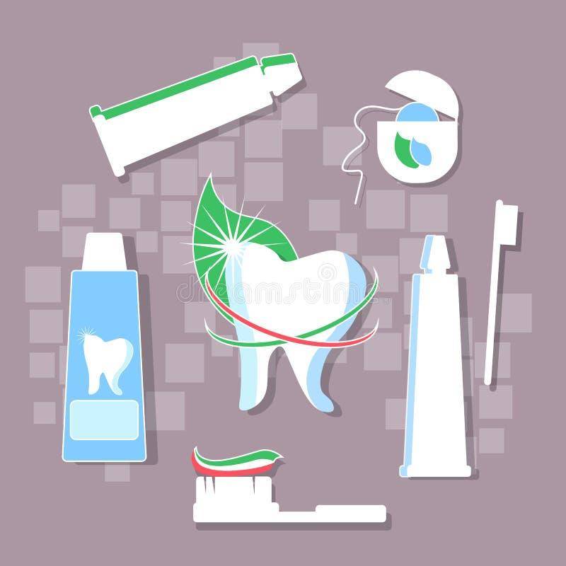 Denti proteggenti, igiene, dentifricio in pasta, filo per i denti illustrazione vettoriale