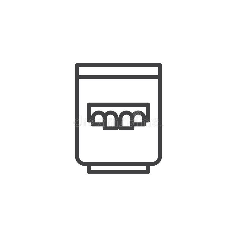 Dentier dans la ligne en verre icône illustration stock