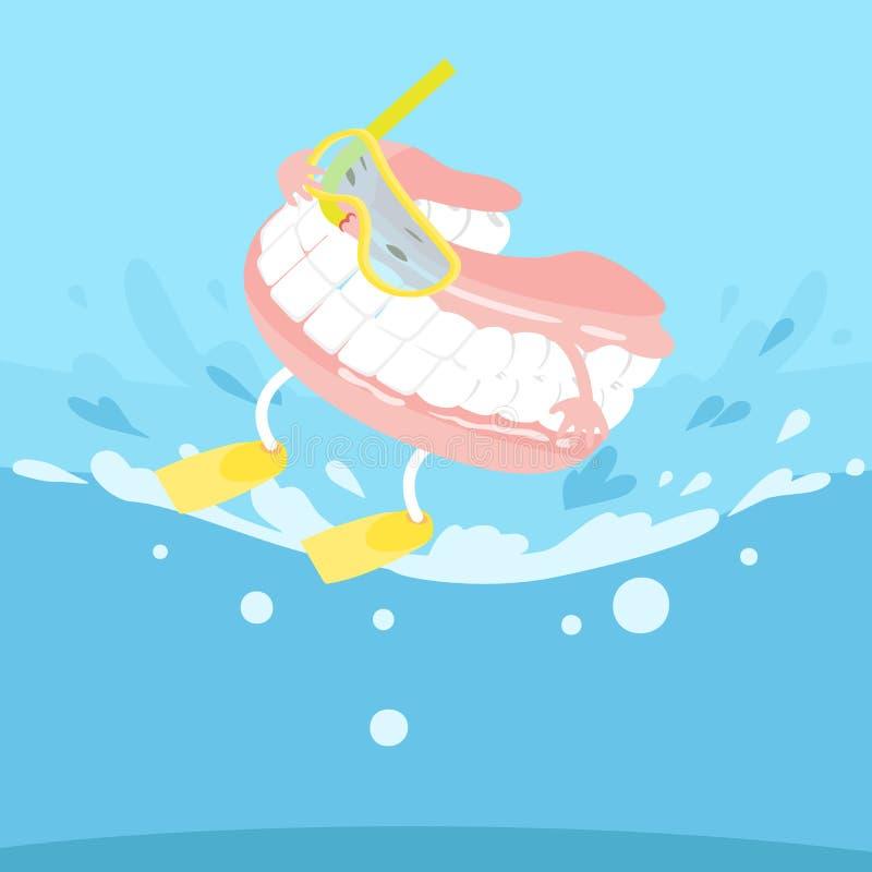 Dentier de bande dessinée avec surfer illustration de vecteur