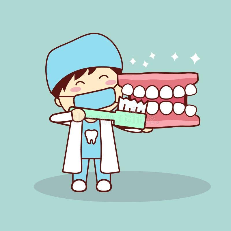 Dentier et dentiste heureux de bande dessinée illustration de vecteur
