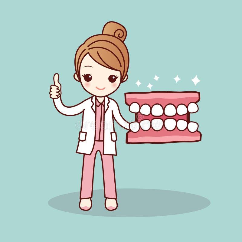 Dentier et dentiste heureux de bande dessinée illustration stock