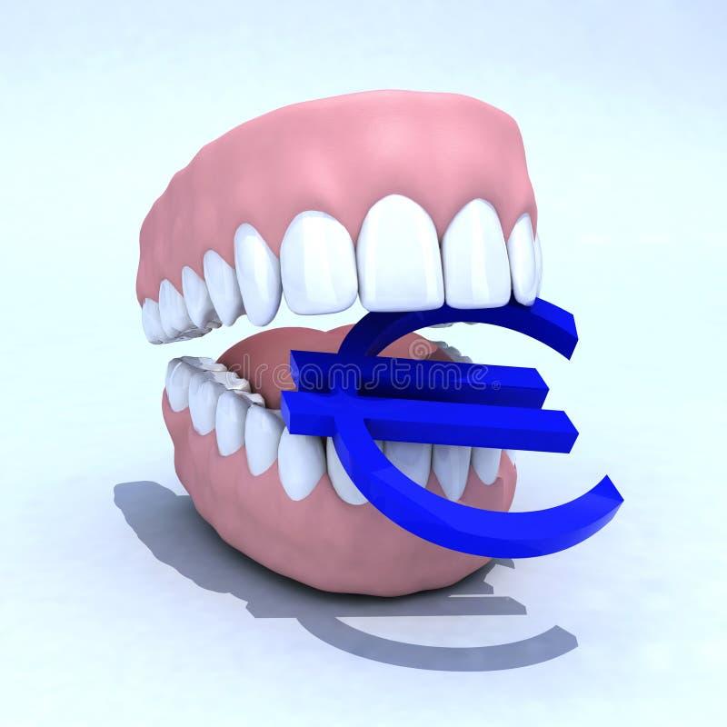 Dentier et euro symbole illustration stock