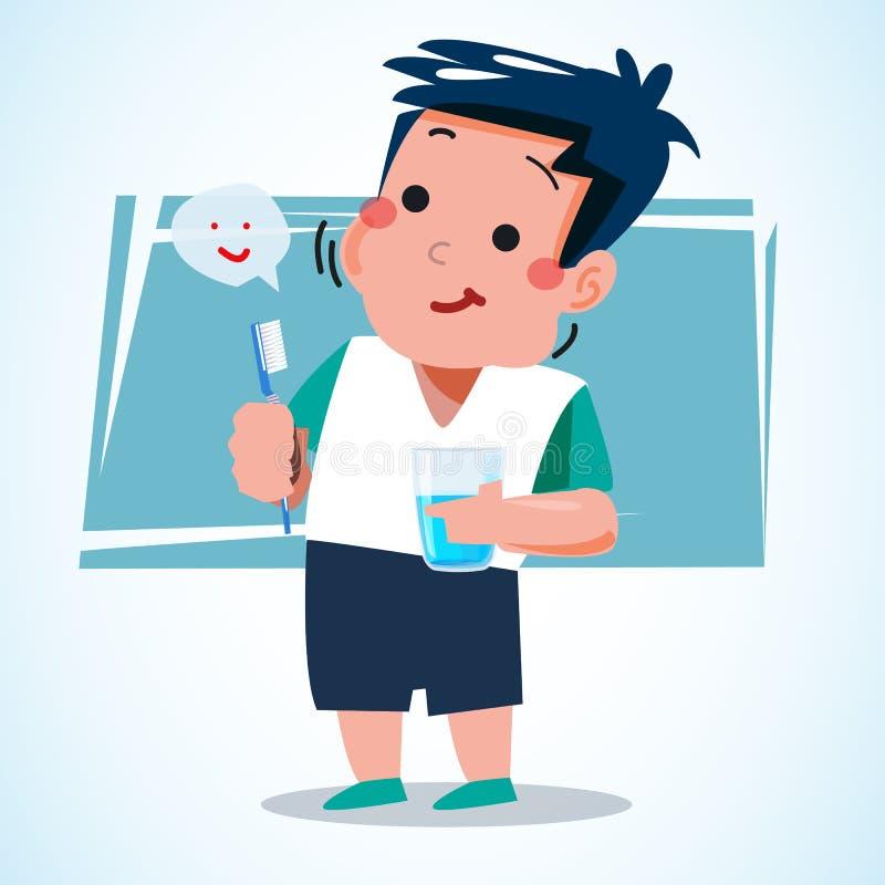 Dentifricio in pasta della tenuta del ragazzo e tazza dell'acqua a pulire i suoi denti carbone illustrazione di stock