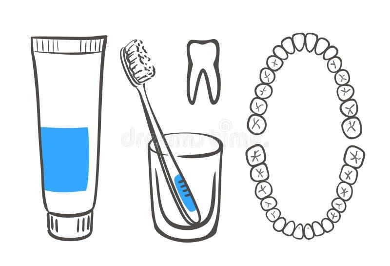 Dentifricio in pasta, spazzola e denti royalty illustrazione gratis