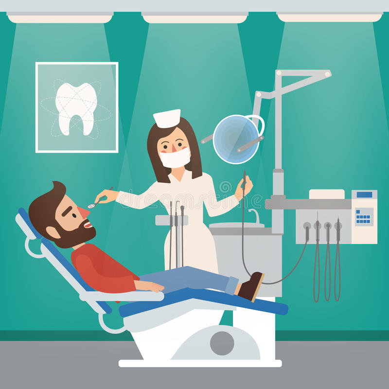 Dentist Cabinet Interior with Doctor and Patient stock illustration