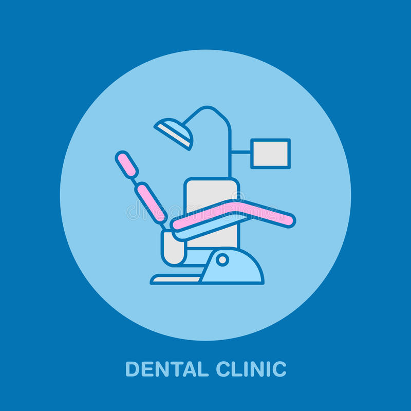 Dentist chair, orthodontics line icon. Dental care equipment sign, medical elements. Health care thin linear symbol. For dentistry clinic stock illustration