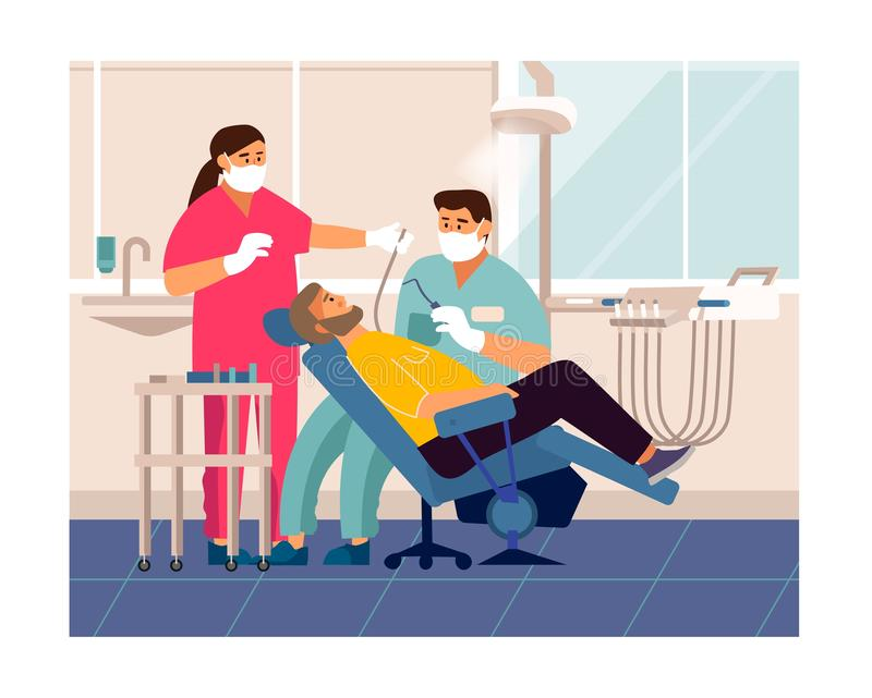Dentist checkup. Cartoon patient at doctor office lying at dentistry chair, tooth care and examination concept. Vector illustration dentist visit in medicals vector illustration