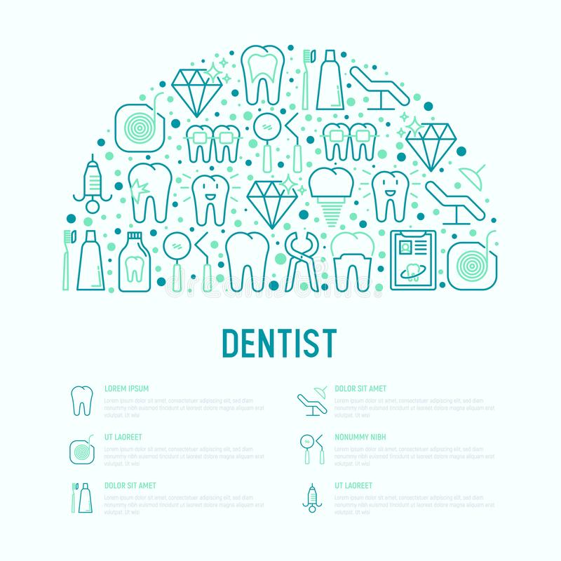 Dentist concept in half circle. With thin line icons of tooth, implant, dental floss, crown, toothpaste, medical equipment. Modern vector illustration for vector illustration