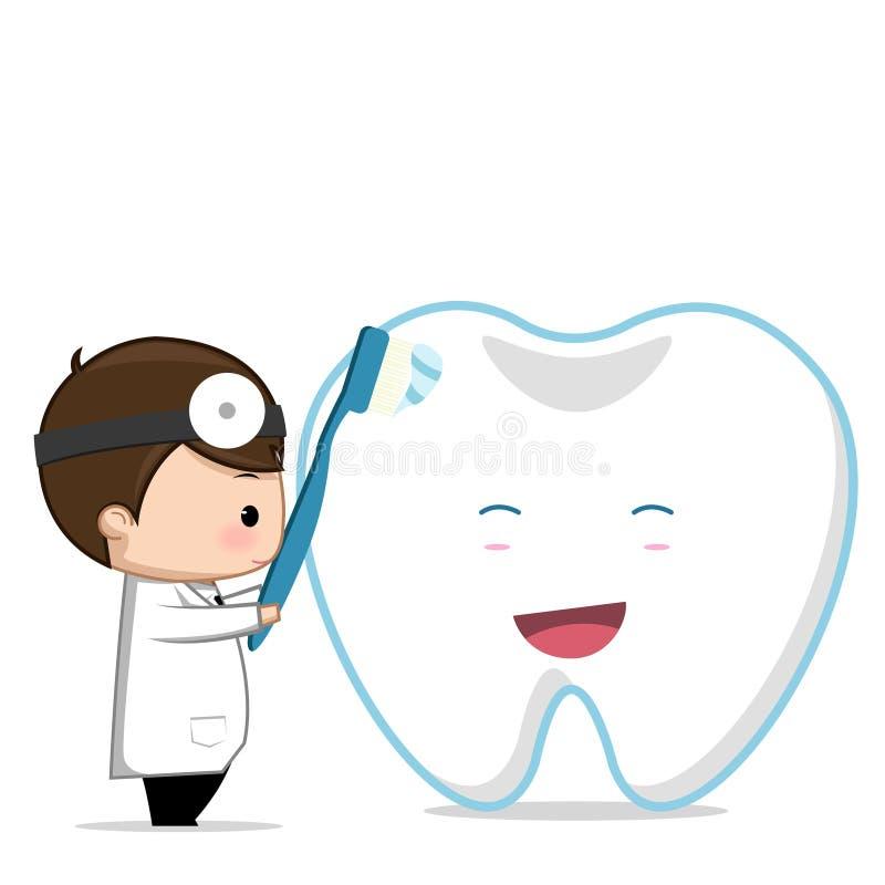Dentist dental care. Teeth tooth cartoon vector Dentist dental care stock illustration