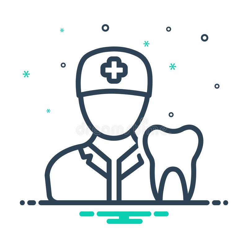 Black mix icon for Dentist, dental and checkup. Black mix icon for Dentist, professional, logo,  dental and checkup stock illustration