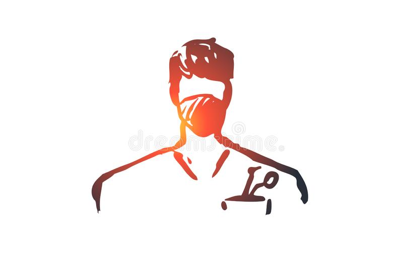 Dentist, doctor, clinic, medicine, healthy concept. Hand drawn isolated vector. Dentist, doctor, clinic, medicine, healthy concept. Hand drawn male dentist at vector illustration