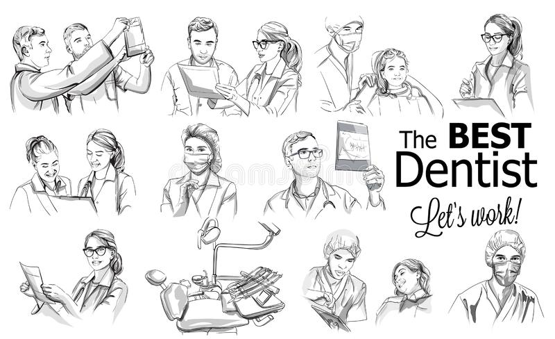 Dentist doctors storyboard Vector. Medical team concept set. Hospital medical staff team doctors nurses surgeon vector. Sketch illustration royalty free illustration