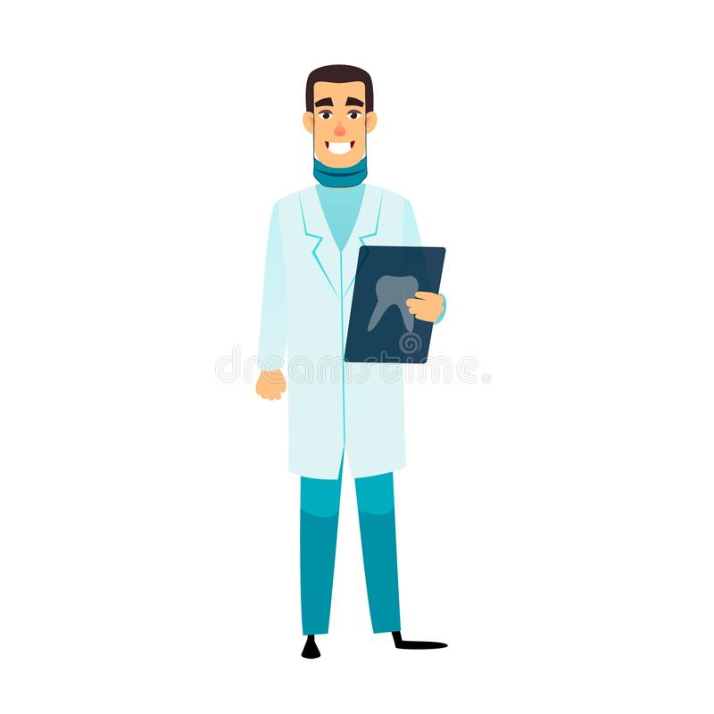 Dentist flat cartoon character. Stomatologist is holding an x-ray of the tooth. Doctor with radiograph. Dentist stock illustration