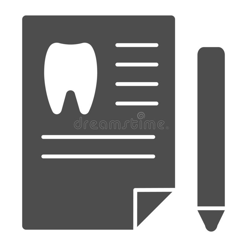 Dentist history solid icon. Medical paper vector illustration isolated on white. Dental history glyph style design. Designed for web and app. Eps 10 royalty free illustration