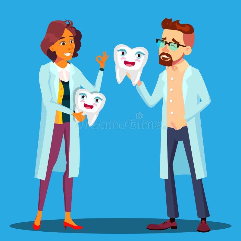 Dentist Holding A Smiling医生牙、男人和妇女白色外套传染媒介的 被隔绝的动画片例证 皇族释放例证