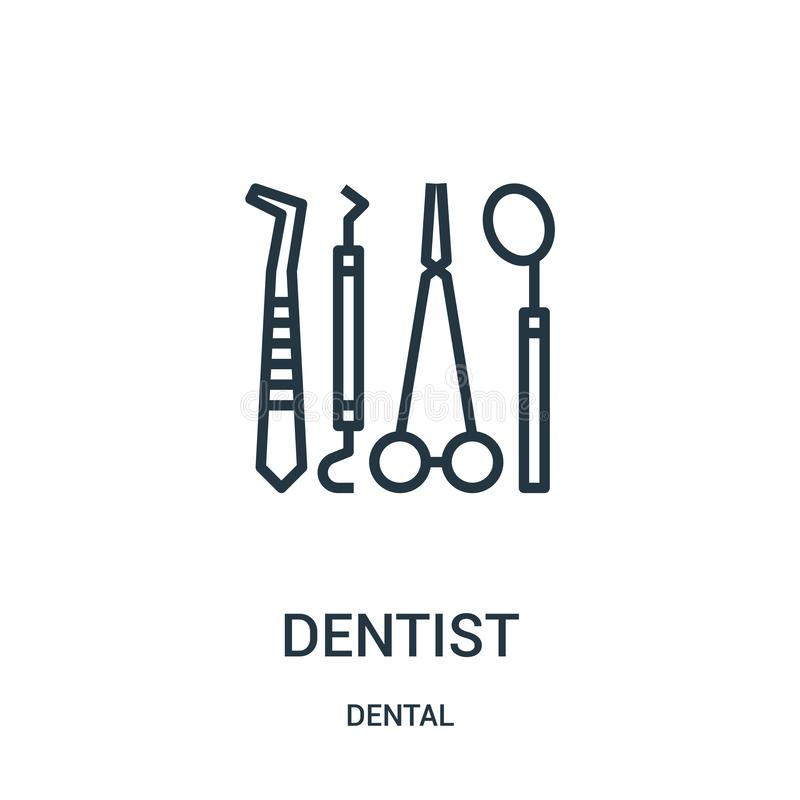Dentist icon vector from dental collection. Thin line dentist outline icon vector illustration. Linear symbol. For use on web and mobile apps, logo, print media vector illustration