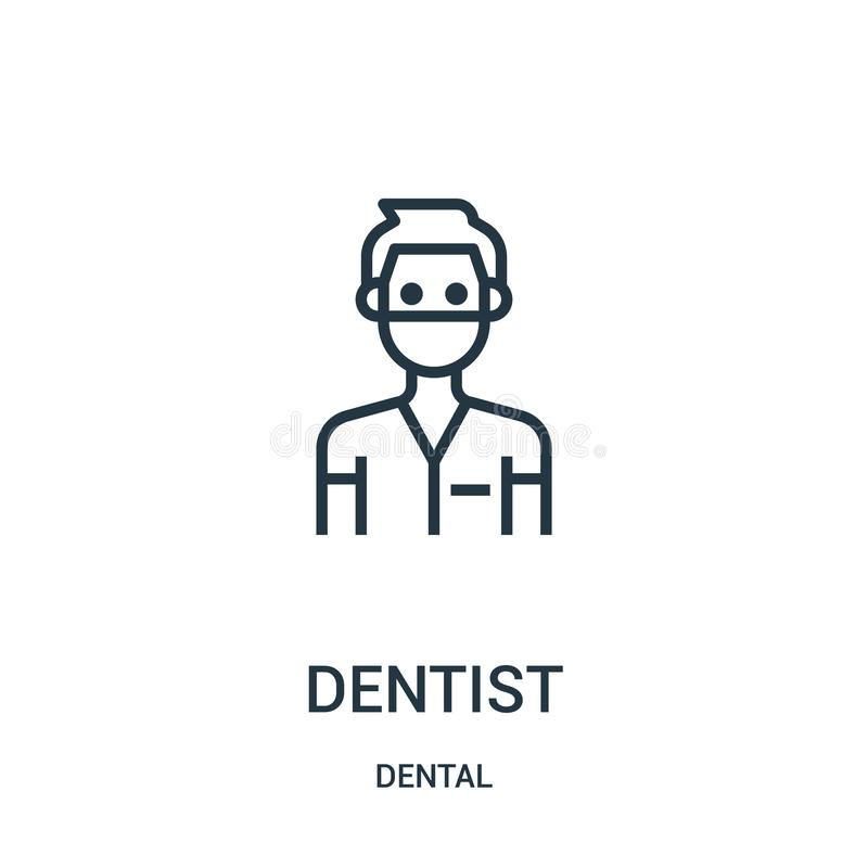Dentist icon vector from dental collection. Thin line dentist outline icon vector illustration. Linear symbol. For use on web and mobile apps, logo, print media royalty free illustration