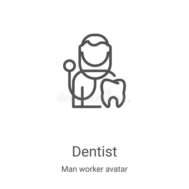 Dentist icon vector from man worker avatar collection. Thin line dentist outline icon vector illustration. Linear symbol for use. On web and mobile apps, logo vector illustration