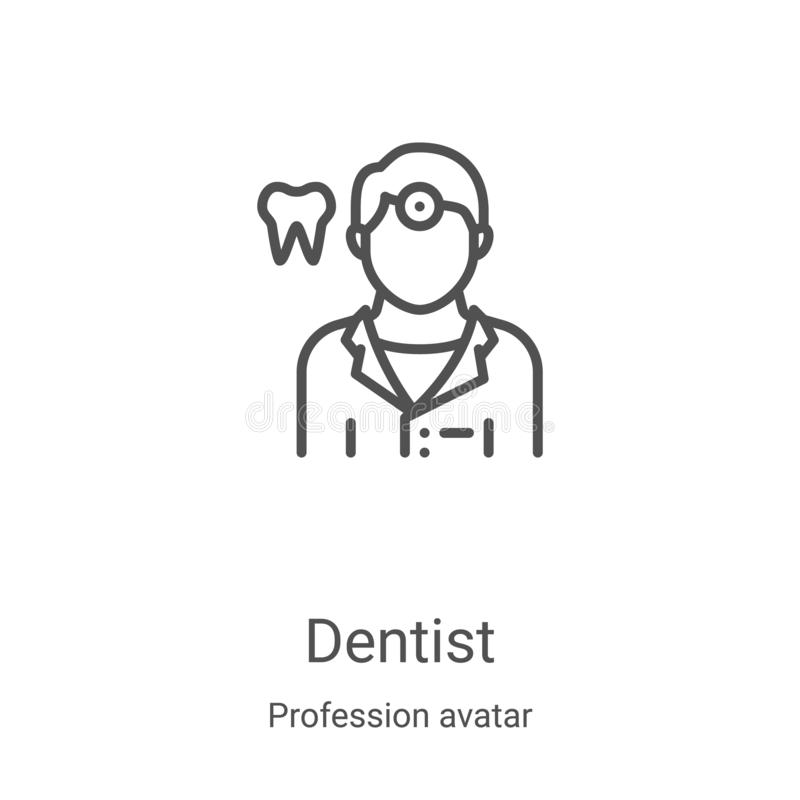 Dentist icon vector from profession avatar collection. Thin line dentist outline icon vector illustration. Linear symbol for use. On web and mobile apps, logo royalty free illustration