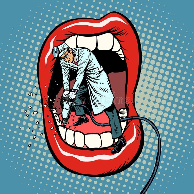 Dentist jackhammer drilling teeth. Pop art retro vector illustration kitsch vintage stock illustration