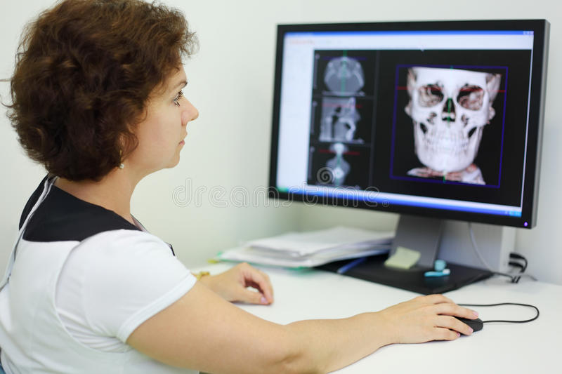 Dentist looks jaw and skull X-rays. Dentist carefully looks jaw and skull X-rays at computer monitor in dental clinic royalty free stock image