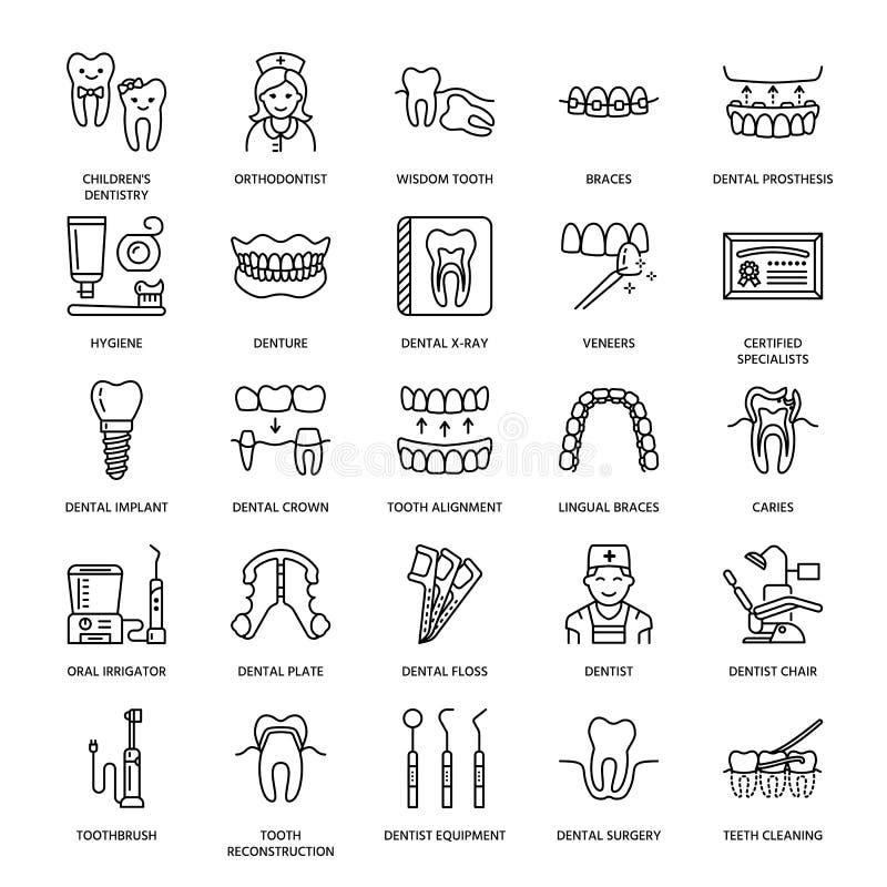 Dentist, orthodontics line icons. Dental care equipment, braces, tooth prosthesis, veneers, floss, caries treatment royalty free illustration
