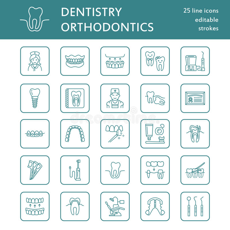 Dentist, orthodontics line icons. Dental care equipment, braces, tooth prosthesis, veneers, floss, caries treatment and. Other medical elements. Health care royalty free illustration