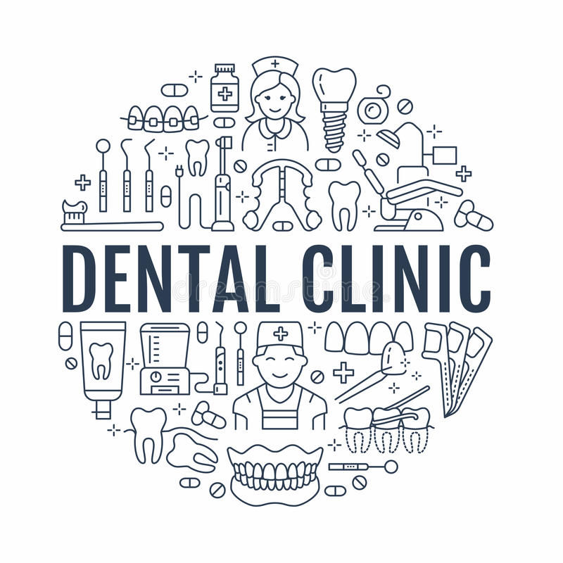 Free Dentist, Orthodontics Medical Banner With Vector Line Icon Of Dental Care Equipment, Braces, Tooth Prosthesis, Veneers Royalty Free Stock Photo - 94365985