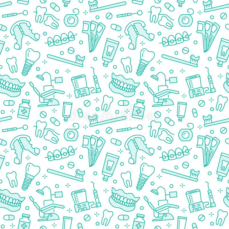 Dentist, orthodontics seamless pattern with line icons. Dental care, medical equipment, braces, tooth prosthesis, floss. Caries treatment, toothpaste. Health royalty free illustration