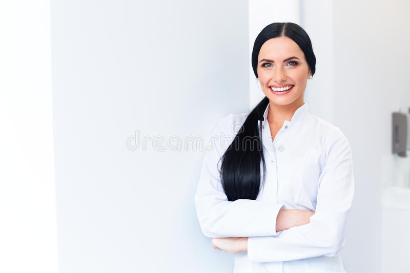 Dentist Portrait. Young Woman Doctor at Dental Clinic. Teeth Car royalty free stock images