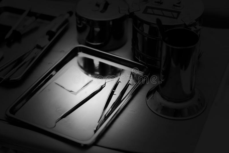 Dentist tool, varities of Crown and bridge equipment for fix res. Toration in white tone stock image