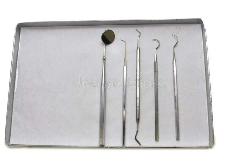 Dentist tools. Close up of tray with dentist tools stock photography