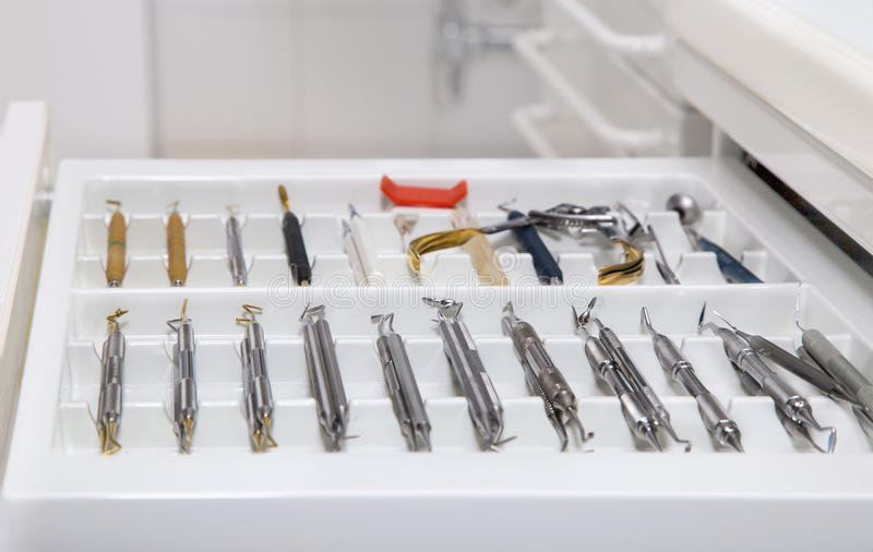 Dentist tools drawer. Close view of dentist tools drawer stock images