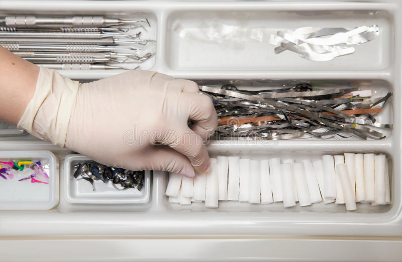 Dentist tools drawer. Close view of dentist tools drawer stock image