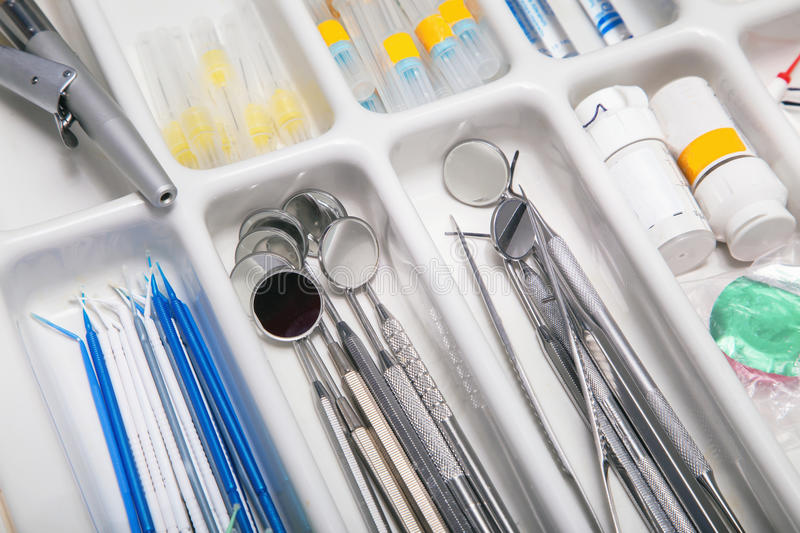 Dentist tools drawer. Close view of dentist tools drawer royalty free stock photo